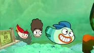 Milo, Bea and Oscar swimming to school