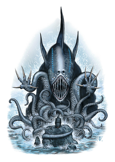 dagon Adoratore di Dagon davanti al suo signore - by Franz Vohwinkel Fiendish Codex I (2006) © Wizards of the Coast & Hasbro