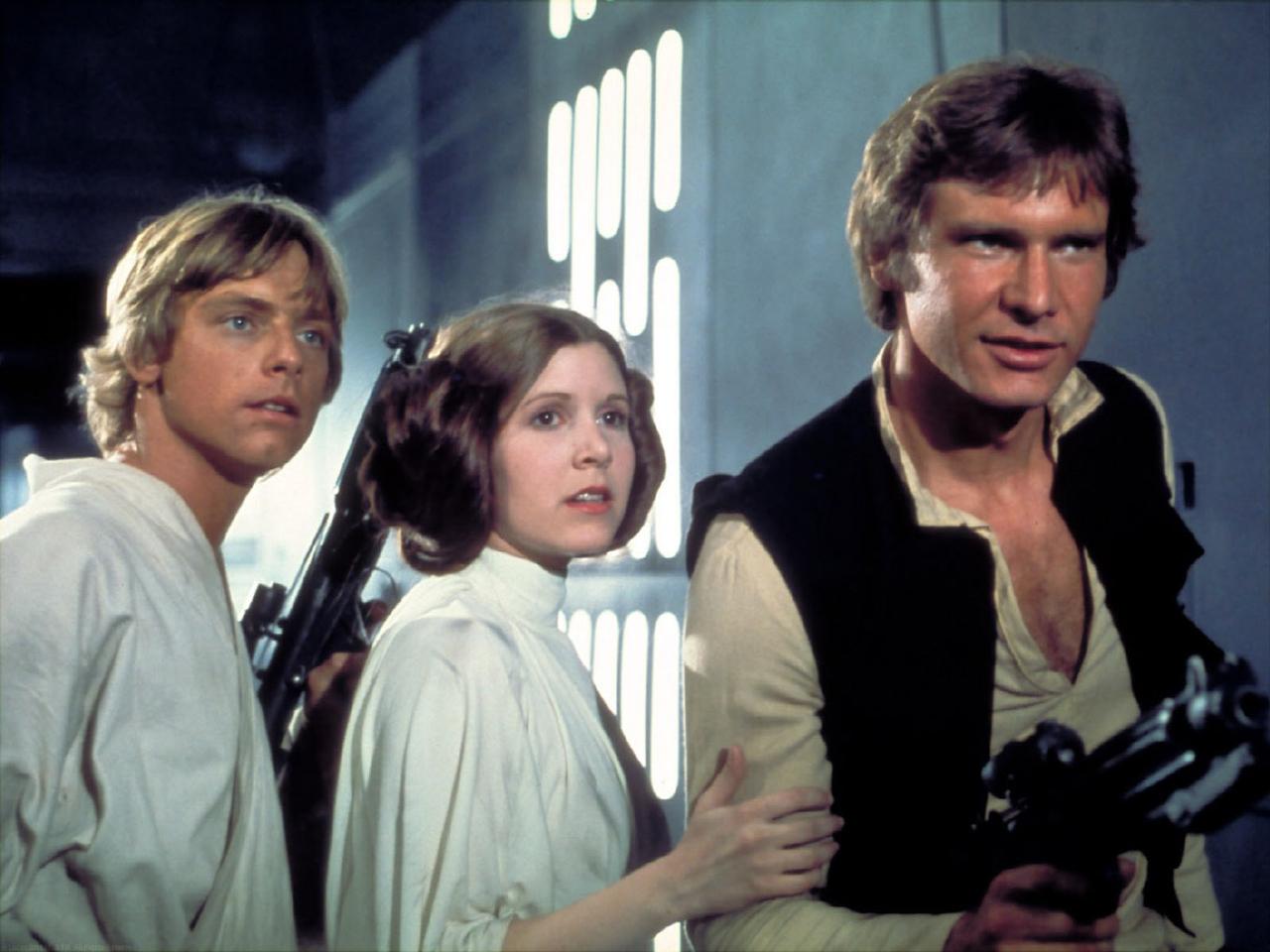 Une image de Luke Skywalker, la Princesse Leia et Han Solo à bord de l'Étoile de la mort