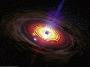 Supermassive black hole eating matter