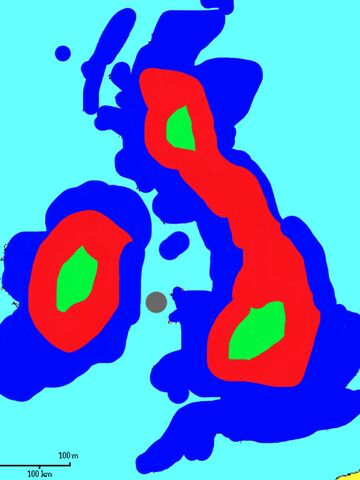 File:Map of Ireland and Britain in 2035. The dark blue shows flooded areas. The Red shows infected areas on dry land and the green shows area with survivors under the control of the UR.jpg
