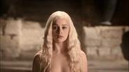 Daenerys enters a scathing hot bath