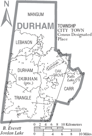 Map of Durham County North Carolina With Municipal and Township Labels