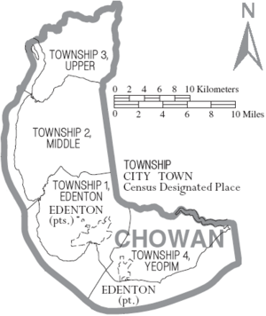 Map of Chowan County North Carolina With Municipal and Township Labels