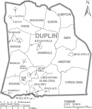 Map of Duplin County North Carolina With Municipal and Township Labels