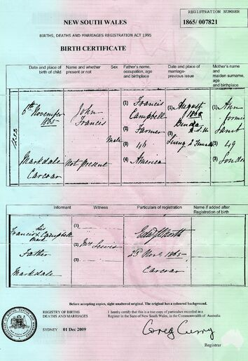 John Francis Campbell Birth Certificate