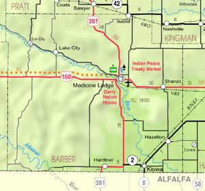 Map of Barber Co, Ks, USA