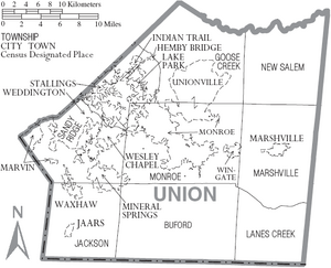 Map of Union County North Carolina With Municipal and Township Labels
