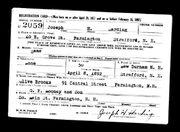 Joseph Harold Harding WW II draft card