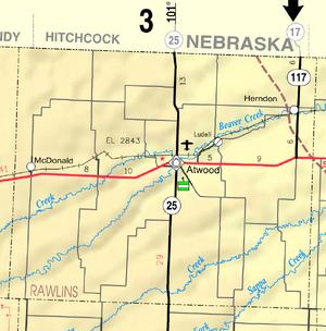 Map of Rawlins Co, Ks, USA