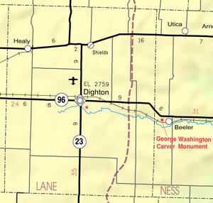 Map of Lane Co, Ks, USA