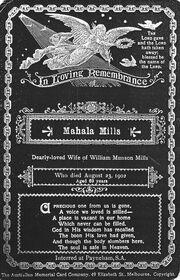 Mahala mills memorial card