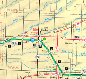 Map of Thomas Co, Ks, USA