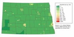 North Dakota population map