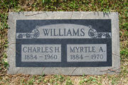 Charles Haley Williams (1884-1960) and Myrtle Lattin tombstone