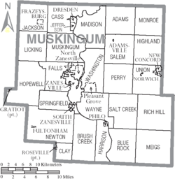 Map of Muskingum County Ohio With Municipal and Township Labels