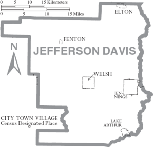 Map of Jefferson Davis Parish Louisiana With Municipal Labels
