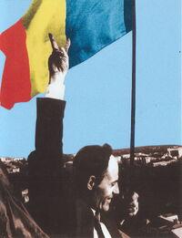 Gheorghe Ghimpu arboreaza Tricolorul