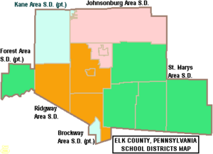 Map of Elk County Pennsylvania School Districts