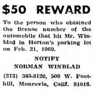 Anton Julius Winblad II (1886-1975) and Norman Edward Winblad (1911-1980) reward in the Desert Sentinel on 1 May 1969