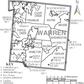 Map of Warren County Ohio With Municipal and Township Labels