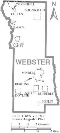 Map of Webster Parish Louisiana With Municipal Labels