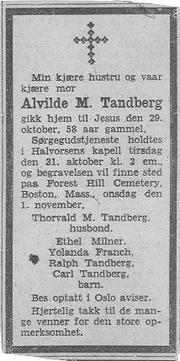 Tandberg-Alvilde 1933 funeral