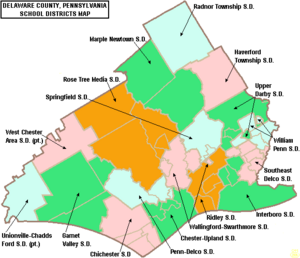 Map of Delaware County Pennsylvania School Districts