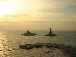 Vivekananda Rock & Valluvar Statue at Sunrise.JPG