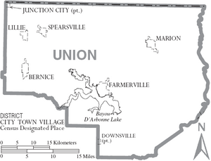 Map of Union Parish Louisiana With Municipal Labels