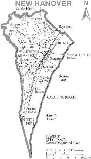Map of New Hanover County North Carolina With Municipal and Township Labels