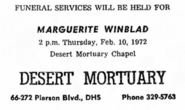 Marguerite Van Rensselaer Schuyler (1891-1972) Winblad funeral notice in the Desert Sentinel on 10 February 1972
