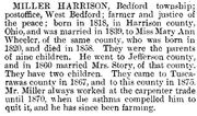 Harrison Miller bio from History of Coshocton County
