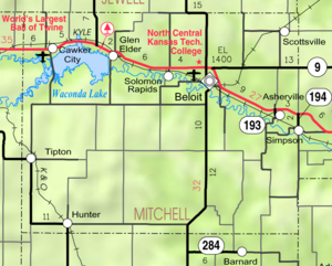 Map of Mitchell Co, Ks, USA