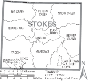 Map of Stokes County North Carolina With Municipal and Township Labels
