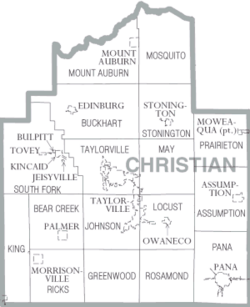 Map of Christian County Illinois
