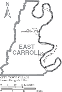 Map of East Carroll Parish Louisiana With Municipal Labels
