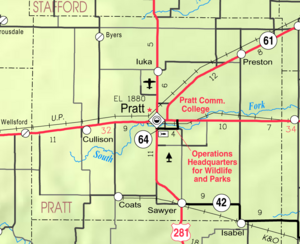 Map of Pratt Co, Ks, USA