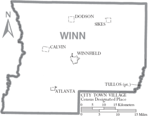 Map of Winn Parish Louisiana With Municipal Labels