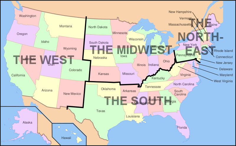 Image Map Of USA Showing Regionspng Familypedia FANDOM - Map of the 5 regions of the us