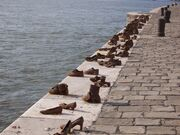 Budapest jewish WWII memorial shoes on river bank