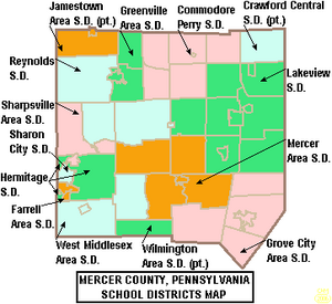 Map of Mercer County Pennsylvania School Districts