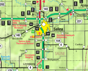 Map of Saline Co, Ks, USA
