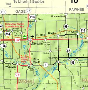 Map of Marshall Co, Ks, USA