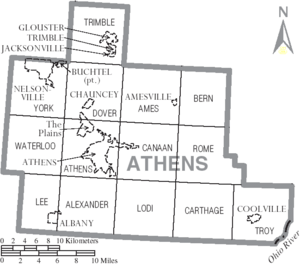 Map of Athens County Ohio With Municipal and Township Labels