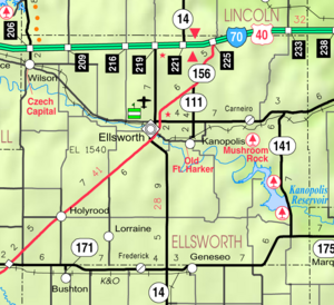 Map of Ellsworth Co, Ks, USA
