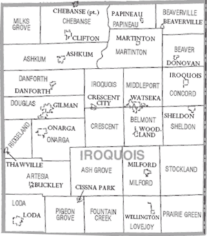 Map of Iroquois County Illinois