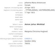 Winblad-Johanna 1853 birth index