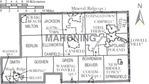Map of Mahoning County Ohio With Municipal and Township Labels