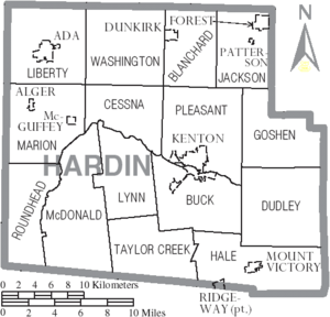 Map of Hardin County Ohio With Municipal and Township Labels